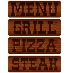 Nameplate of wood vector