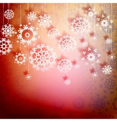 Red christmas card with snowflakes EPS10 vector image