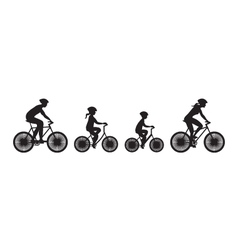 Silhouette of family on bicycles vector