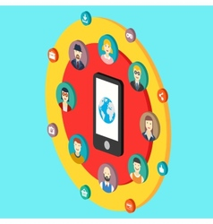 Social network with avatars earth mobile phone vector image