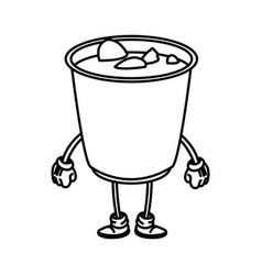 Soup ramen food japanese cartoon character outline vector