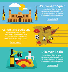 Spain travel banner horizontal set flat style vector