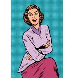Surprised elegant woman pop art retro vector image vector image