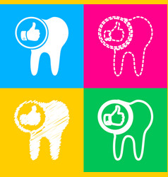 Tooth sign with thumbs up symbol four styles of vector