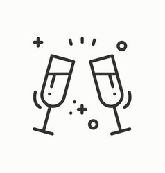 two glasses toast icon binge drink champagne vector image vector image