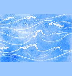 watercolor sea waves vector image vector image