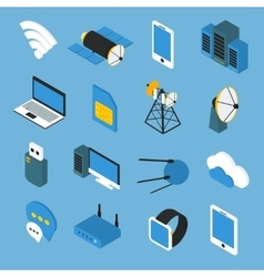 Wireless Technology Isometric Icons vector image