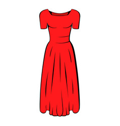 Womens red dress icon cartoon vector
