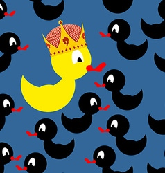 Yellow rubber duck in crown black duck around a vector