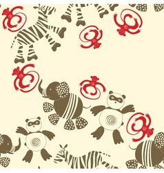 zoo animals pattern vector image vector image