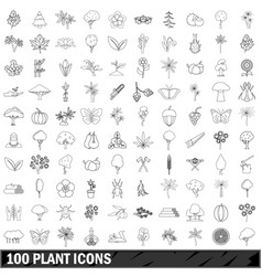 100 plant icons set outline style vector image vector image