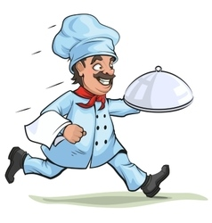 Male chef carries finished dish on platter vector