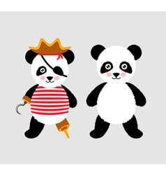 Cute panda pirate standing with hat and hook vector