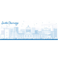 Outline santo domingo skyline with blue buildings vector