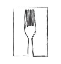 contour fork cutlery icon vector image