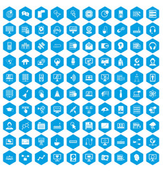 100 on-line seminar icons set blue vector
