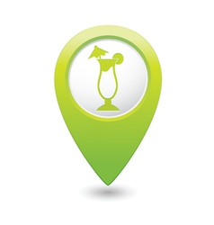 coctail icon on map pointer green vector image