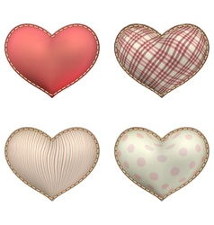 Heart-shaped soft toy set isolated eps 10 vector