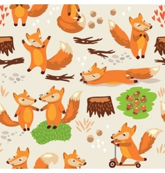 Cartoon seamless pattern with cute foxes vector