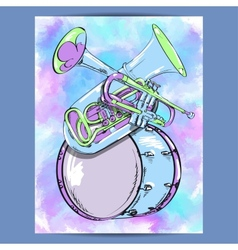 Poster with wind instruments vector
