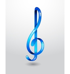 Glass blue treble clef vector