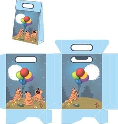 Cats celebrating birthday Handbag packages pattern vector image