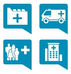 Medical blue icon set vector