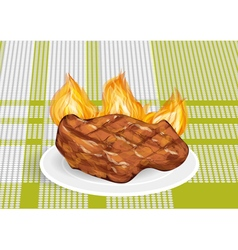 Barbecue on a green tablecloth vector