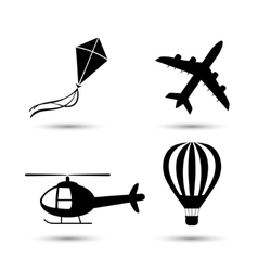 Airplane helicopter air balloon and kite vector