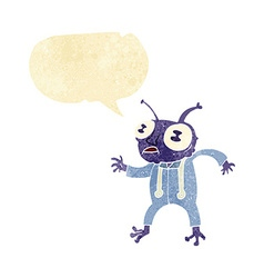 cartoon alien spaceman with speech bubble vector image