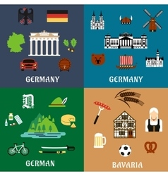 Germany travel ant culture flat icons vector