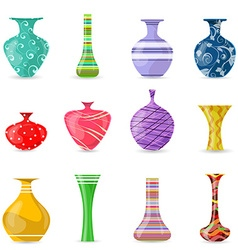 Collection of lovely modern colorful vases for vector