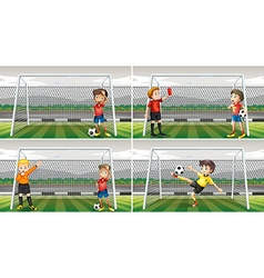 Four scenes of goalkeepers in the field vector image