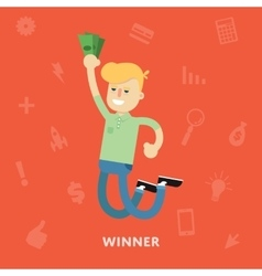 Man rejoices win with money in hands vector