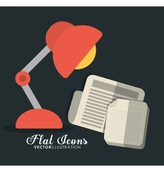 Lamp and document icon office instrument design vector