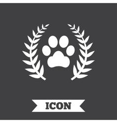 Winner pets laurel wreath sign icon vector