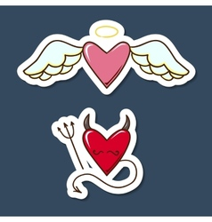 Angel and demon hearts vector image
