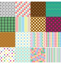 big set of abstract retro seamless simple patterns vector image vector image