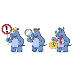 Blue Rhino Mascot with money vector image vector image