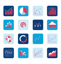 Business chart icons vector image