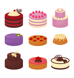 cakes set icons in cartoon flat style vector image vector image
