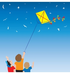 Children with a kite and birds in the sky vector image