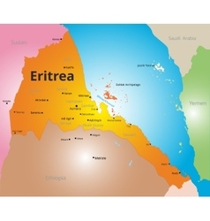 color map of Eritrea vector image vector image