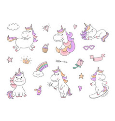 Cute unicorn characters with magical things vector