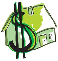 drawn green house vector image vector image