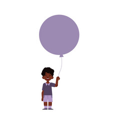 Flat african black boy child air balloon vector