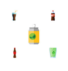 Flat icon drink set of beverage bottle cola and vector