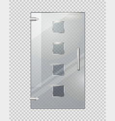 Glass door with squares on transparent background vector