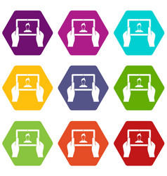 Hands holding tablet icon set color hexahedron vector