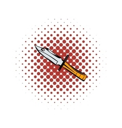 Hunting knife comics icon vector